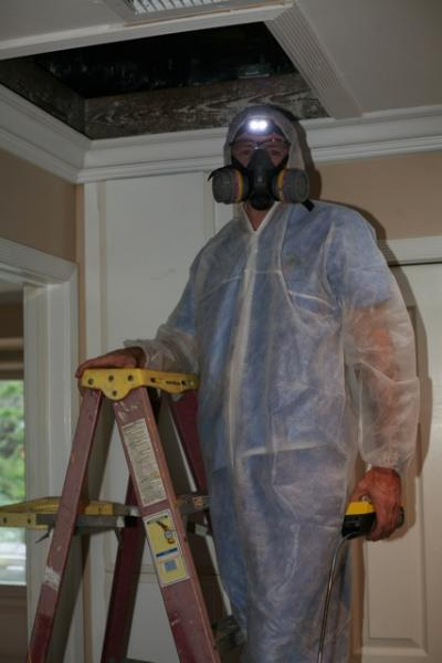 An Energy Doctor preparing to inspect an attic