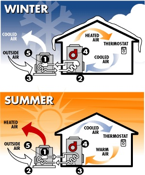 Heat pumps can heat or cool your home depending on the season or desired temperature!